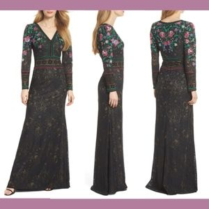 NEW $628 Tadashi Shoji Embroidered Lace Gown 12